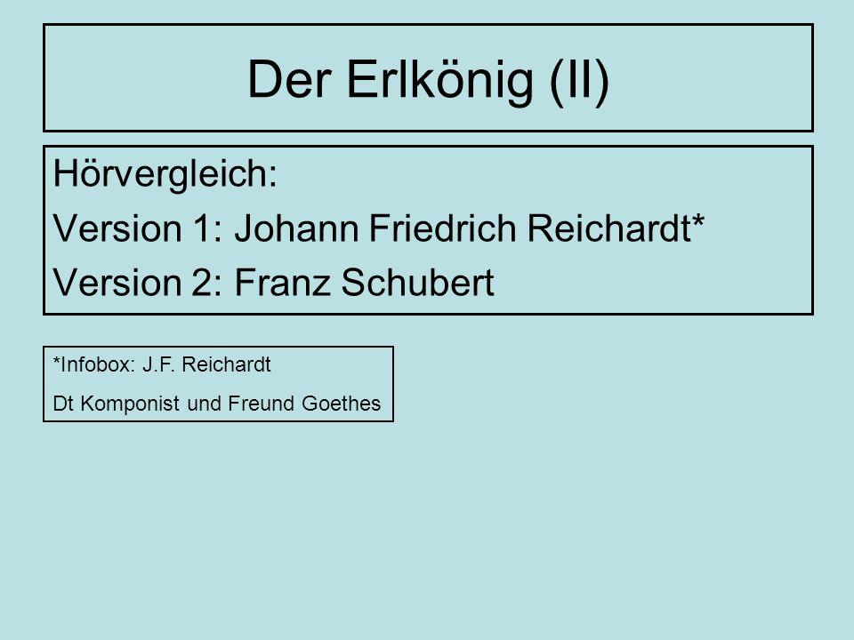 Der Erlkönig (II) Hörvergleich: Version 1: Johann Friedrich Reichardt*