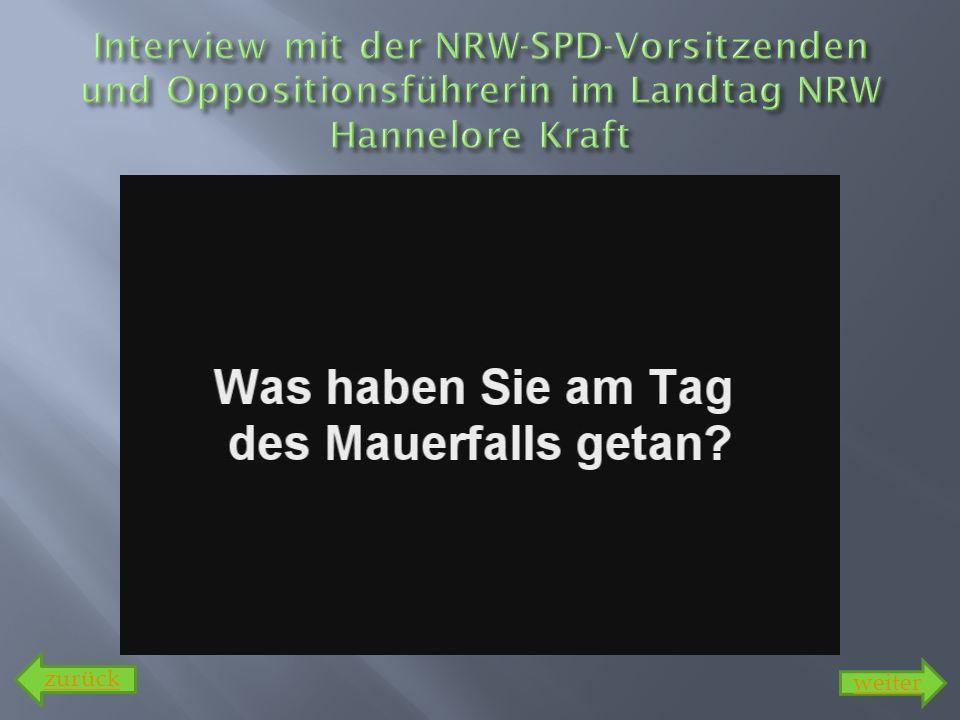 Interview mit der NRW-SPD-Vorsitzenden und Oppositionsführerin im Landtag NRW Hannelore Kraft
