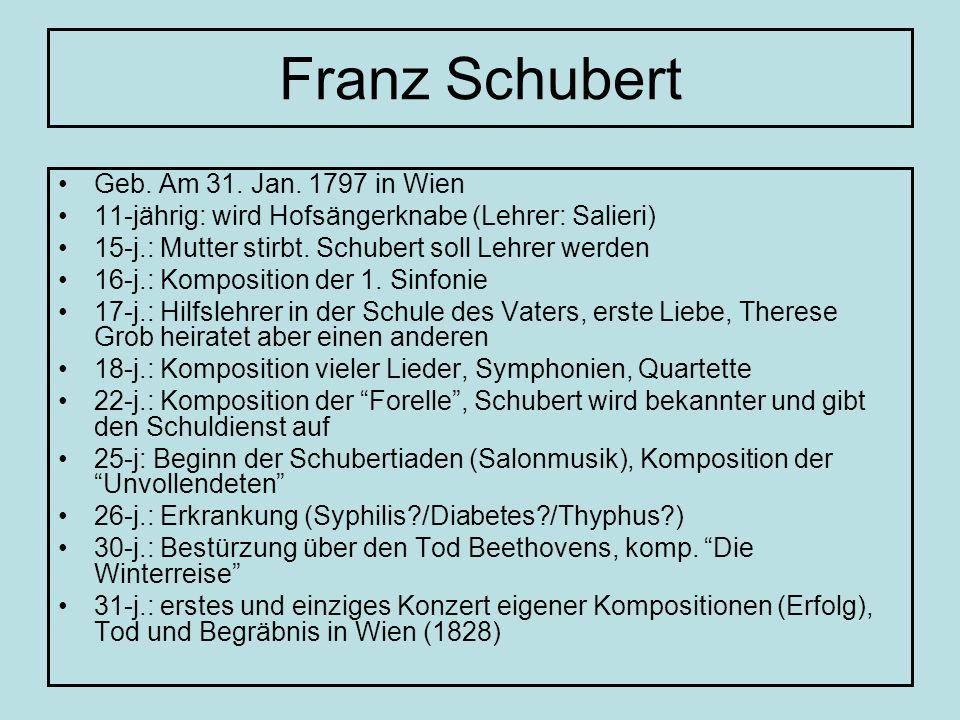Franz Schubert Geb. Am 31. Jan. 1797 in Wien