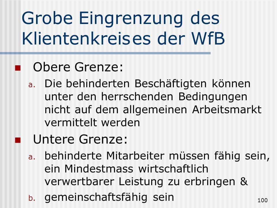 Grobe Eingrenzung des Klientenkreis es der WfB