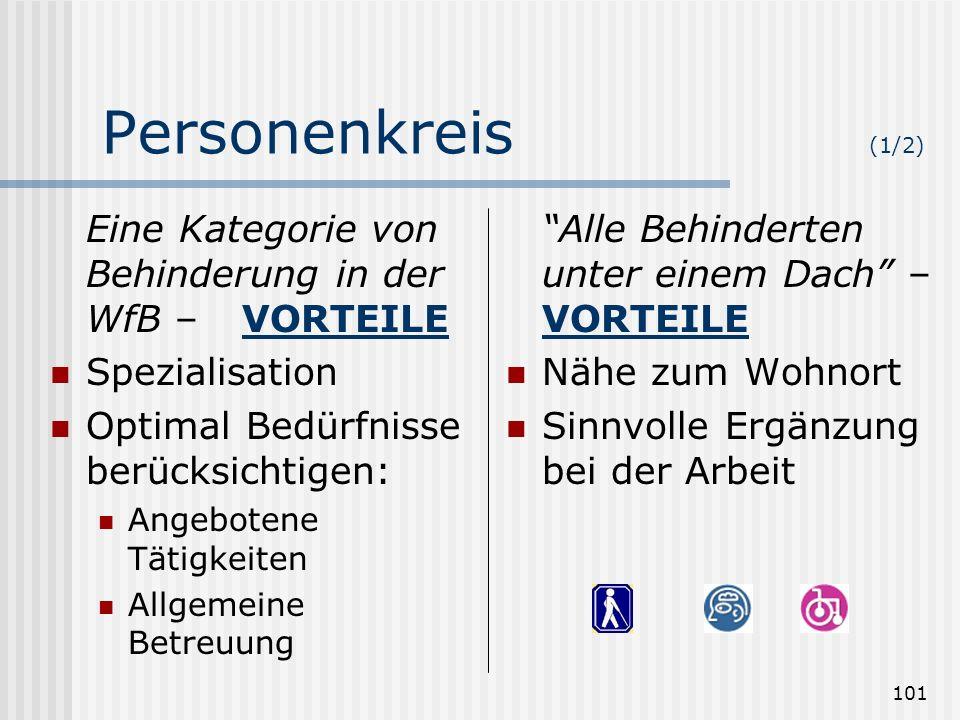 Personenkreis (1/2) Eine Kategorie von Behinderung in der WfB – VORTEILE. Spezialisation. Optimal Bedürfnisse berücksichtigen: