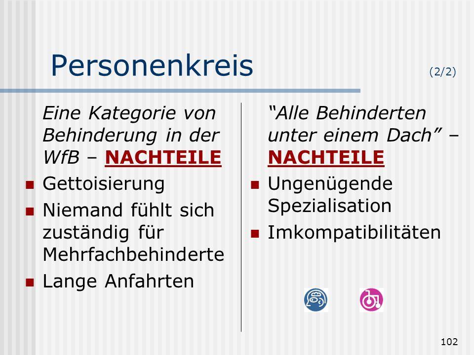 Personenkreis (2/2) Eine Kategorie von Behinderung in der WfB – NACHTEILE. Gettoisierung. Niemand fühlt sich zuständig für Mehrfachbehinderte.