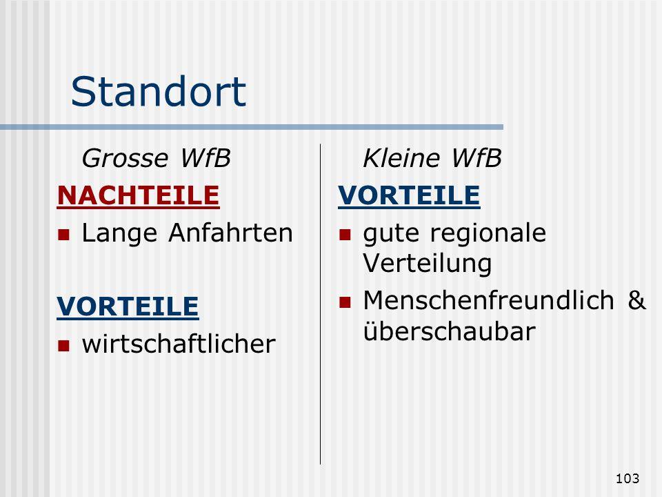 Standort Grosse WfB NACHTEILE Lange Anfahrten VORTEILE