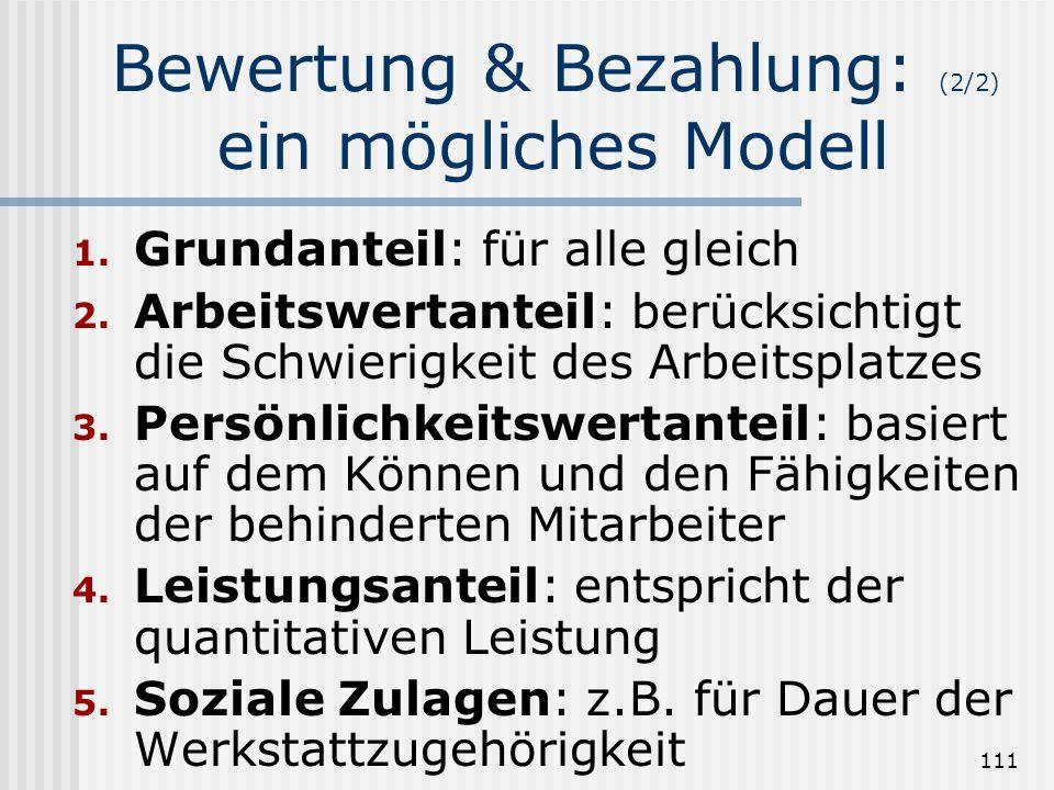 Bewertung & Bezahlung: (2/2) ein mögliches Modell