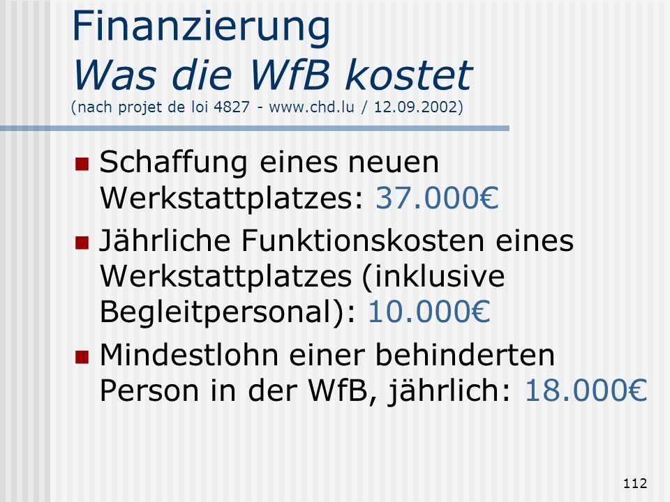 Finanzierung Was die WfB kostet (nach projet de loi 4827 - www. chd
