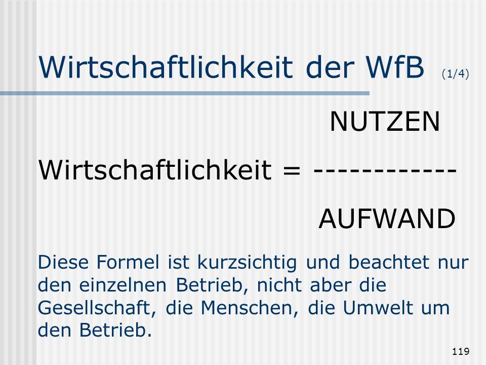 Wirtschaftlichkeit der WfB (1/4)