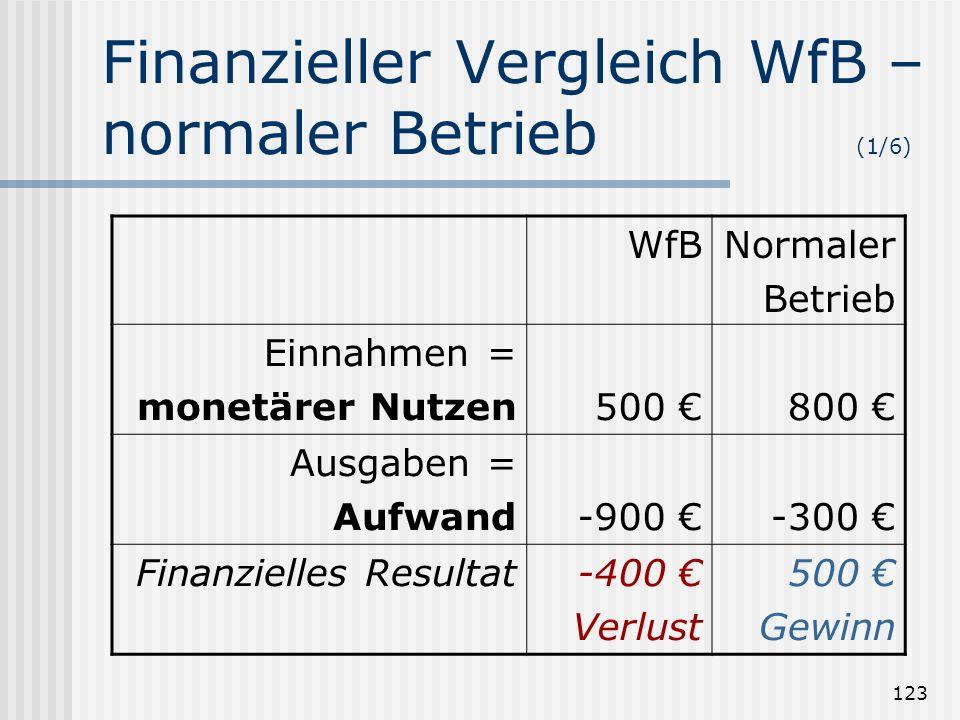 Finanzieller Vergleich WfB – normaler Betrieb (1/6)