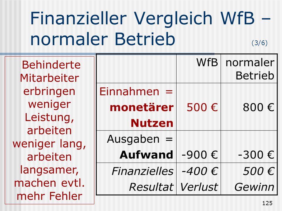 Finanzieller Vergleich WfB – normaler Betrieb (3/6)