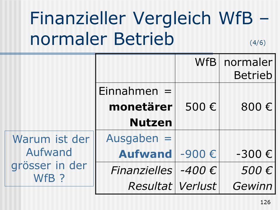 Finanzieller Vergleich WfB – normaler Betrieb (4/6)