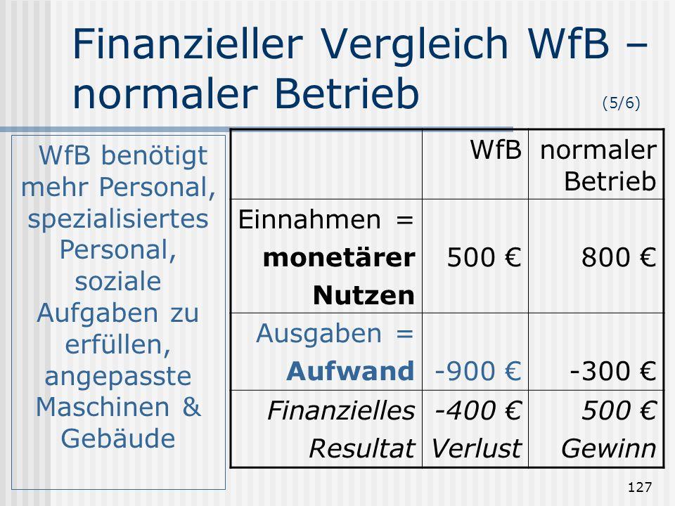 Finanzieller Vergleich WfB – normaler Betrieb (5/6)