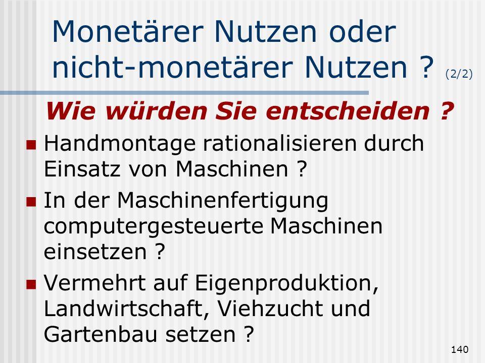 Monetärer Nutzen oder nicht-monetärer Nutzen (2/2)