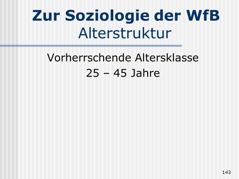 Zur Soziologie der WfB Alterstruktur
