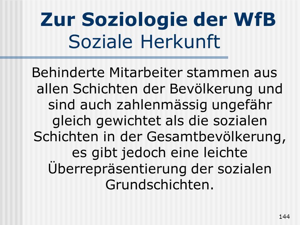 Zur Soziologie der WfB Soziale Herkunft