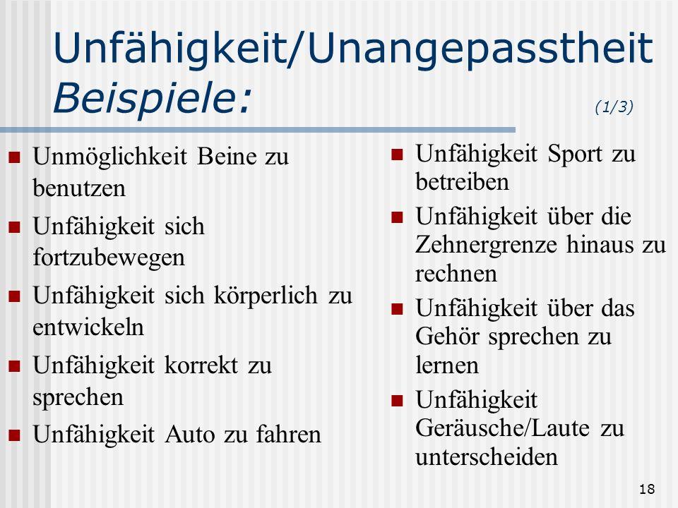 Unfähigkeit/UnangepasstheitBeispiele: (1/3)