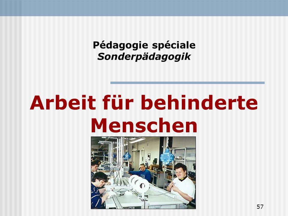 Pédagogie spéciale Sonderpädagogik