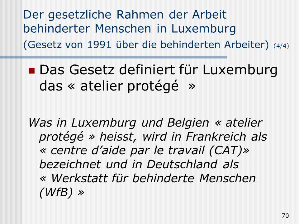 Das Gesetz definiert für Luxemburg das « atelier protégé »