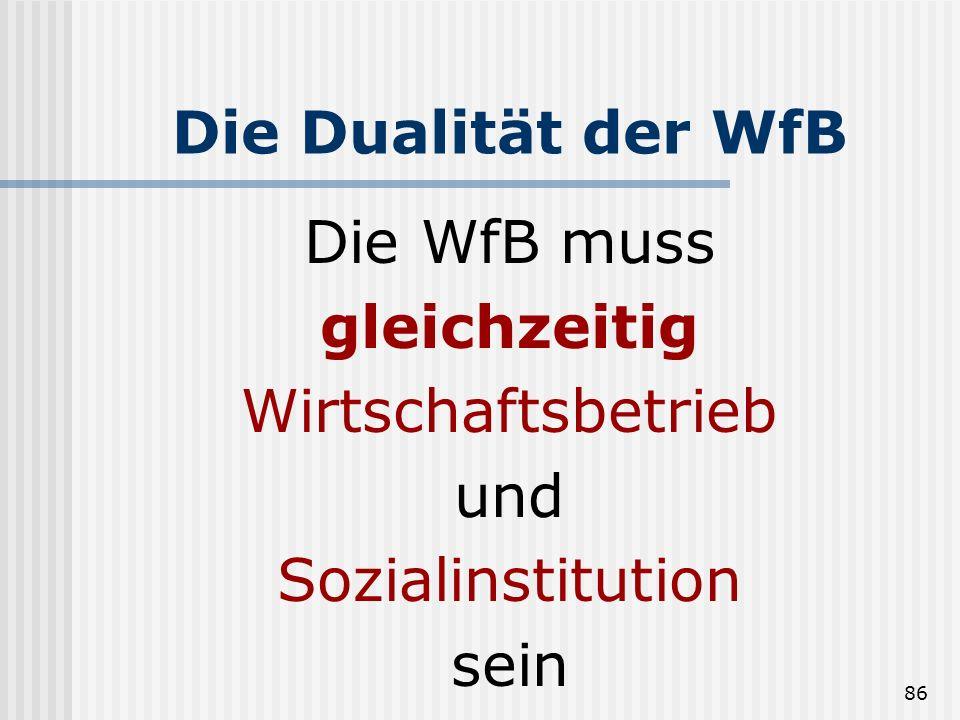 Die Dualität der WfB Die WfB muss gleichzeitig Wirtschaftsbetrieb und Sozialinstitution sein