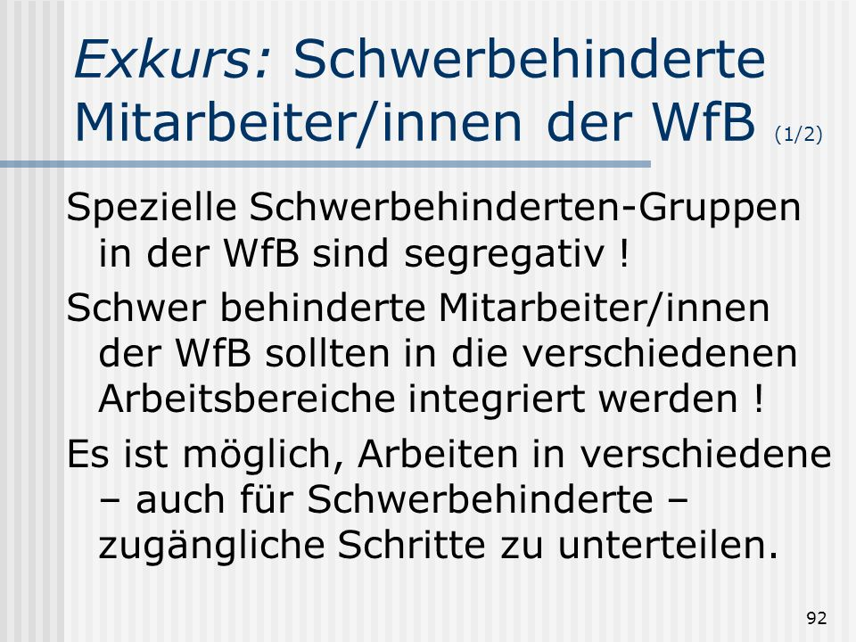 Exkurs: Schwerbehinderte Mitarbeiter/innen der WfB (1/2)