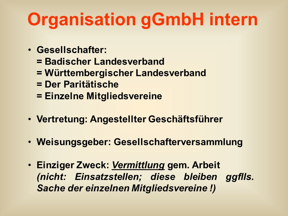 Organisation gGmbH intern