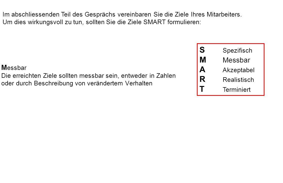 S Spezifisch M Messbar A Akzeptabel R Realistisch T Terminiert Messbar