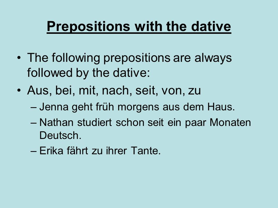 Prepositions with the dative