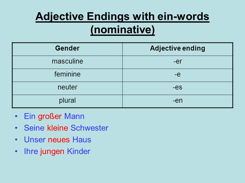 Adjective Endings with ein-words (nominative)