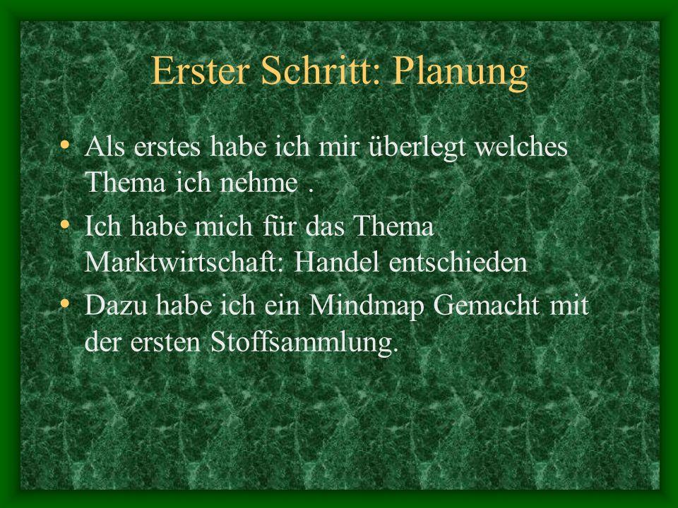 Erster Schritt: Planung