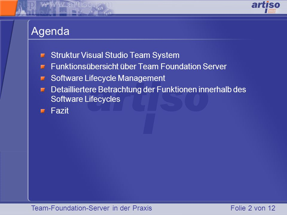 Agenda Struktur Visual Studio Team System