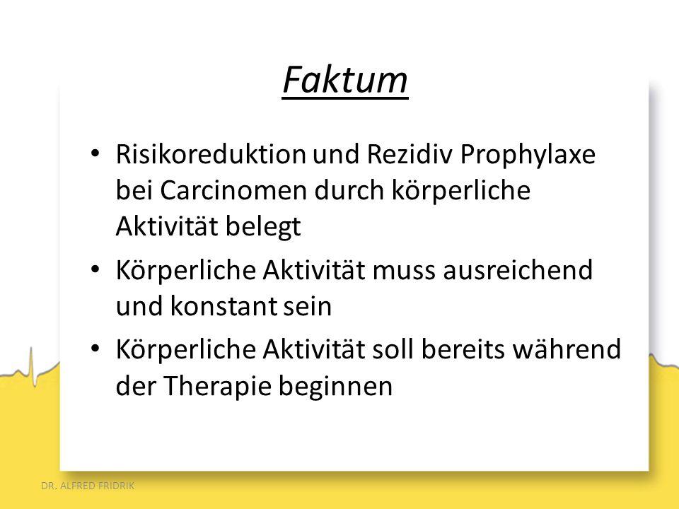 Faktum Risikoreduktion und Rezidiv Prophylaxe bei Carcinomen durch körperliche Aktivität belegt.