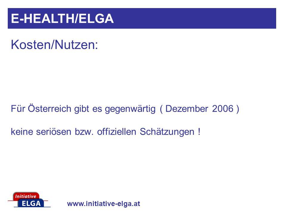 E-HEALTH/ELGA Kosten/Nutzen: