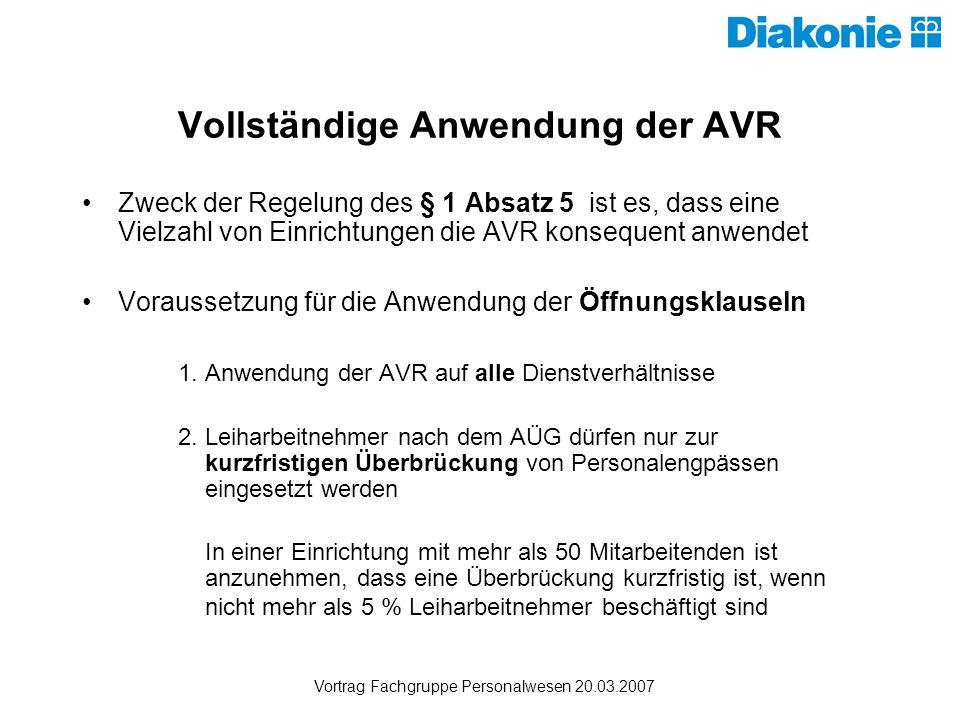 Vollständige Anwendung der AVR