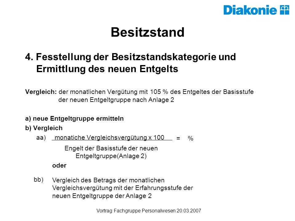 Besitzstand 4. Fesstellung der Besitzstandskategorie und Ermittlung des neuen Entgelts.