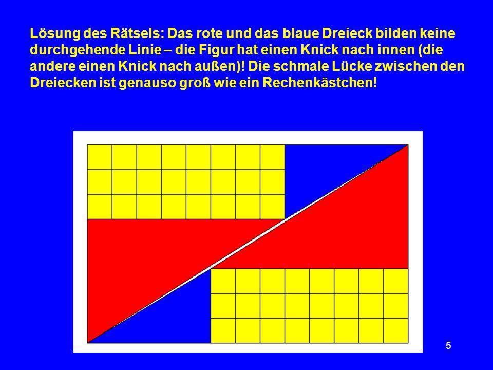 Lösung des Rätsels: Das rote und das blaue Dreieck bilden keine durchgehende Linie – die Figur hat einen Knick nach innen (die andere einen Knick nach außen).