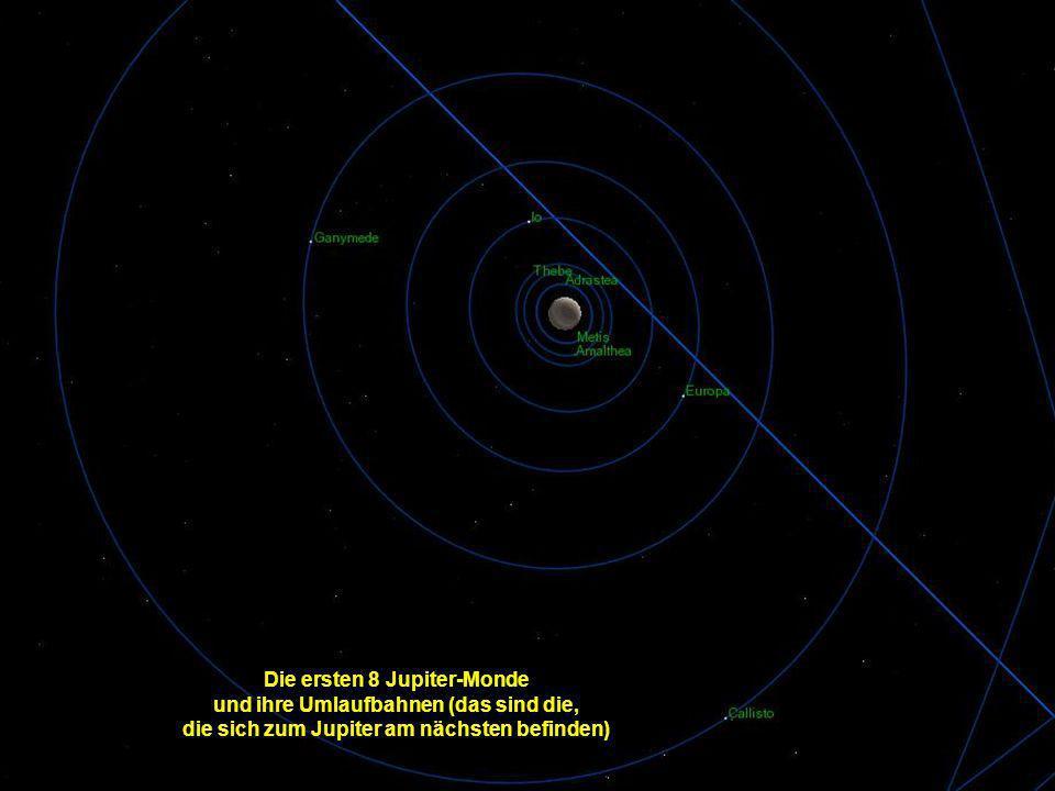 Die ersten 8 Jupiter-Monde und ihre Umlaufbahnen (das sind die,