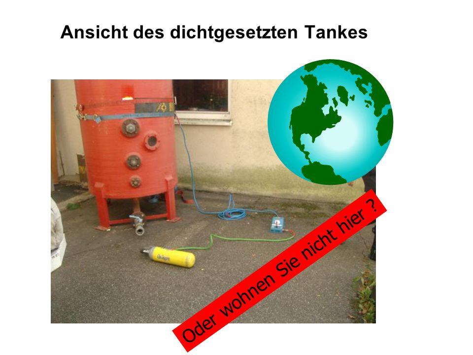 Ansicht des dichtgesetzten Tankes