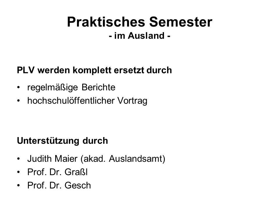 Praktisches Semester - im Ausland -
