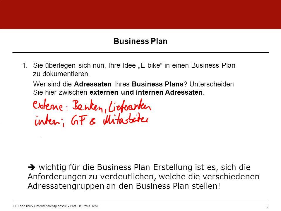 """Business Plan 1. Sie überlegen sich nun, Ihre Idee """"E-bike in einen Business Plan zu dokumentieren."""