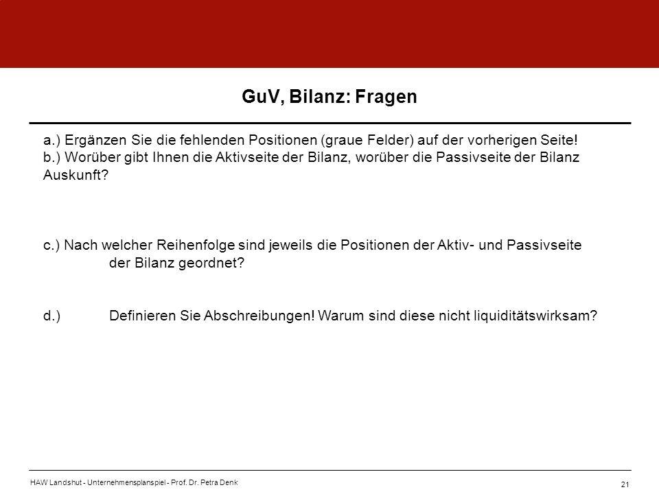 GuV, Bilanz: Fragen a.) Ergänzen Sie die fehlenden Positionen (graue Felder) auf der vorherigen Seite!
