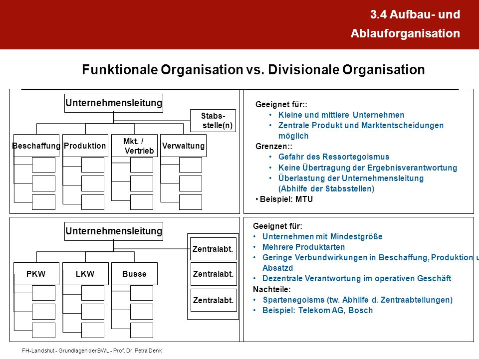 Funktionale Organisation vs. Divisionale Organisation