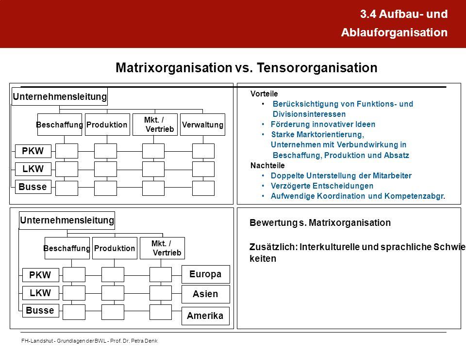 Matrixorganisation vs. Tensororganisation