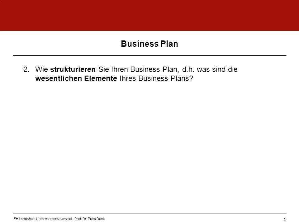 Business Plan 2. Wie strukturieren Sie Ihren Business-Plan, d.h. was sind die wesentlichen Elemente Ihres Business Plans