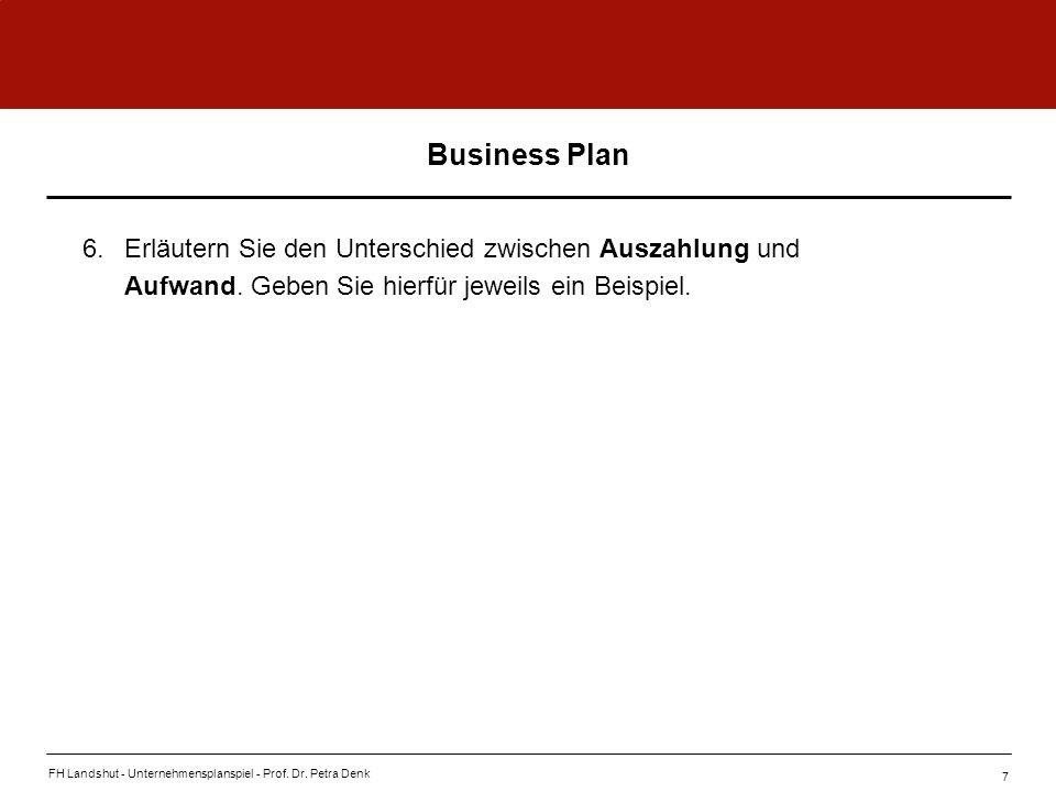 Business Plan 6. Erläutern Sie den Unterschied zwischen Auszahlung und Aufwand. Geben Sie hierfür jeweils ein Beispiel.