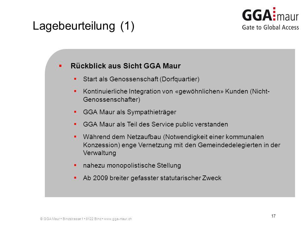 Lagebeurteilung (1) Rückblick aus Sicht GGA Maur