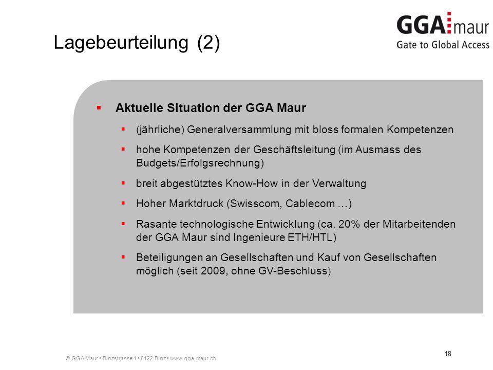 Lagebeurteilung (2) Aktuelle Situation der GGA Maur