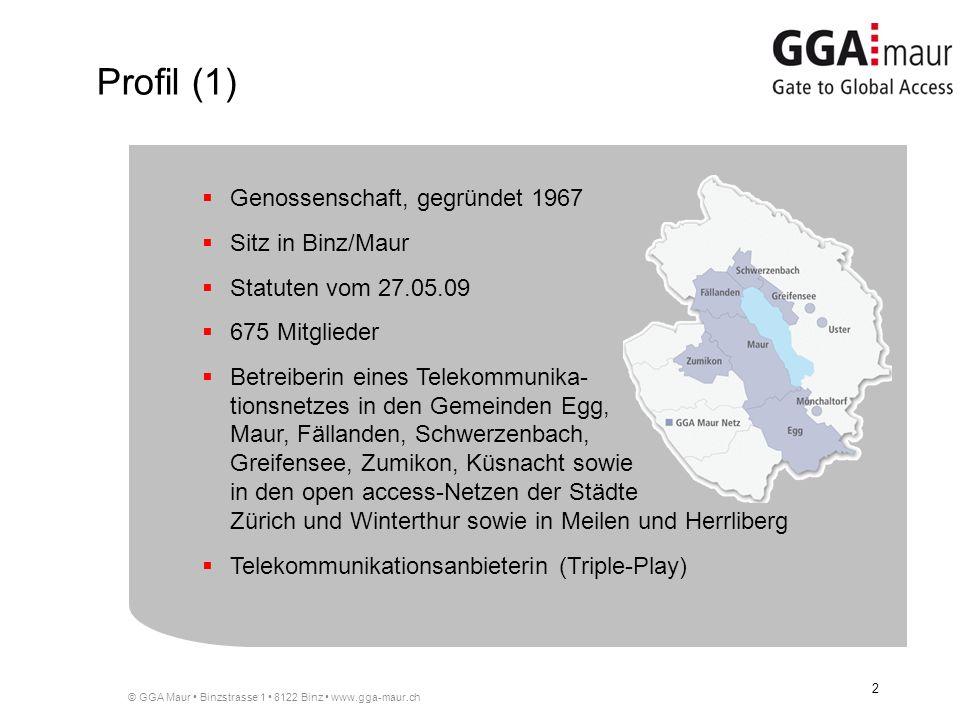 Profil (1) Genossenschaft, gegründet 1967 Sitz in Binz/Maur