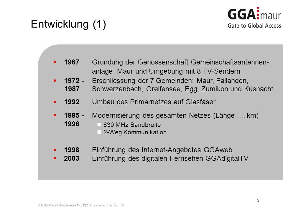 Entwicklung (1) 1967 Gründung der Genossenschaft Gemeinschaftsantennen- anlage Maur und Umgebung mit 8 TV-Sendern.