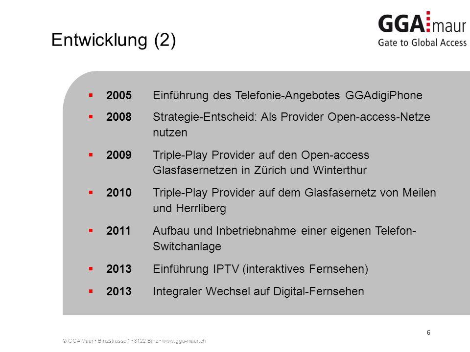 Entwicklung (2) 2005 Einführung des Telefonie-Angebotes GGAdigiPhone