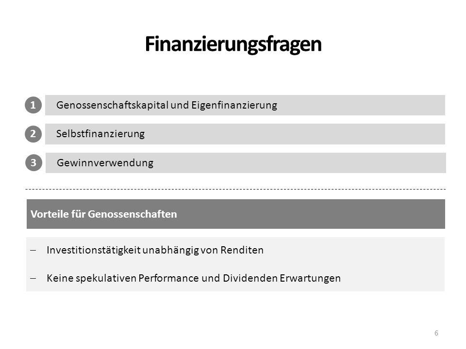 Finanzierungsfragen 1 Genossenschaftskapital und Eigenfinanzierung 2