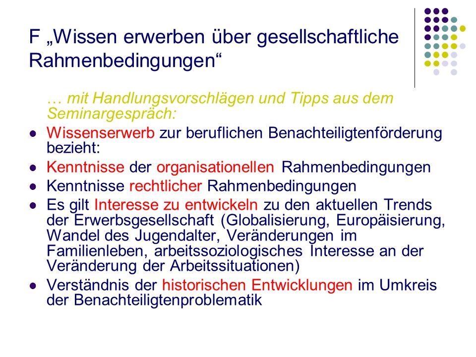 """F """"Wissen erwerben über gesellschaftliche Rahmenbedingungen"""