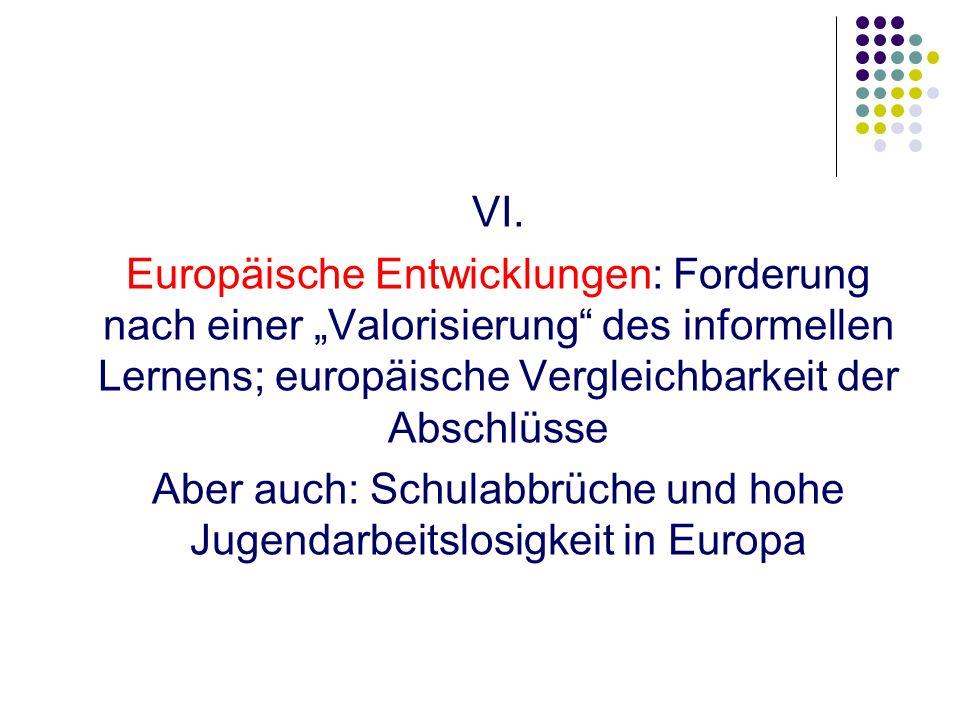 Aber auch: Schulabbrüche und hohe Jugendarbeitslosigkeit in Europa